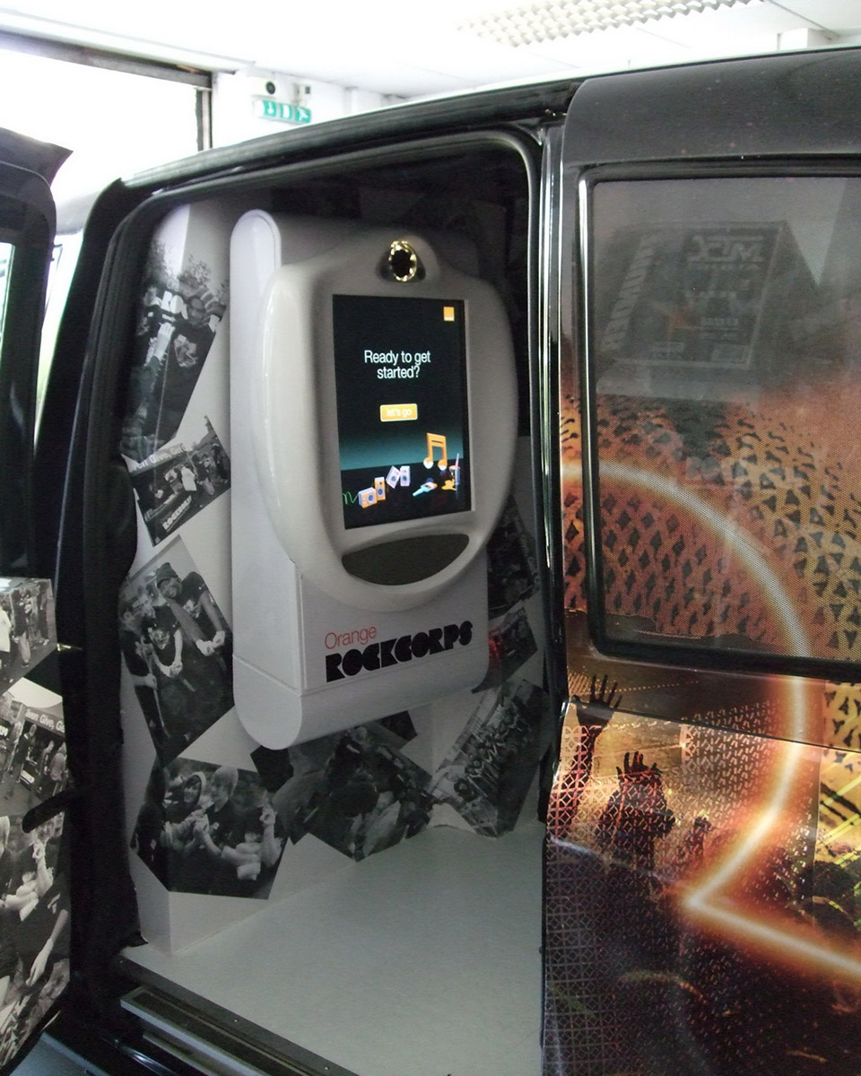 Inside Orange Taxi Video Booth